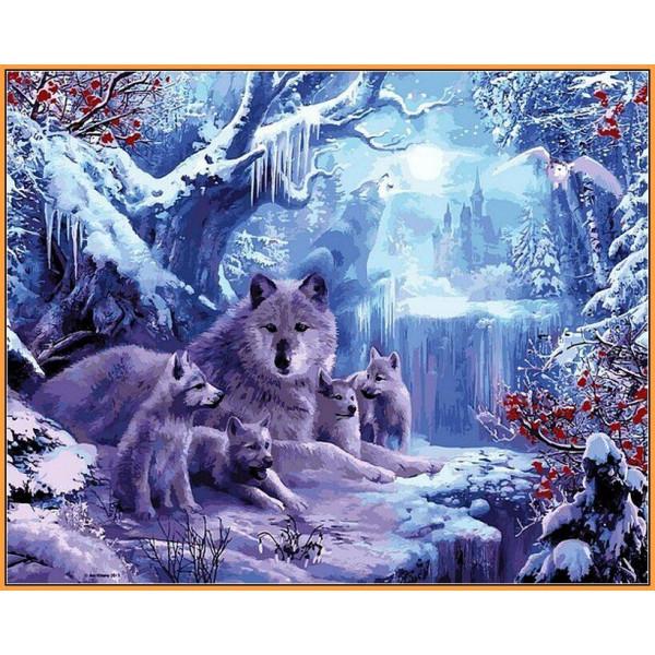 "Картина по номерам ""Волчья зима"""