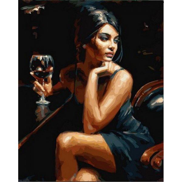 "Картина по номерам ""Девушка с бокалом бордо"""