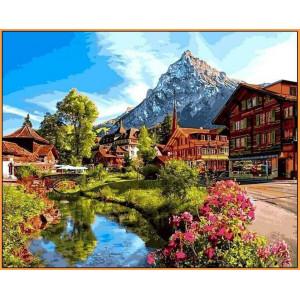 """Картина по номерам """"Альпийский городок"""""""