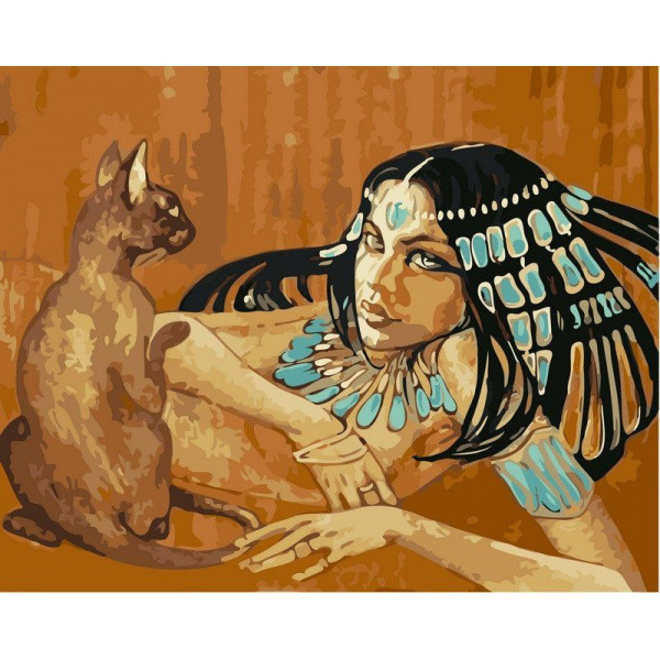 """Картина по номерам """"Египтянка с кошкой"""""""
