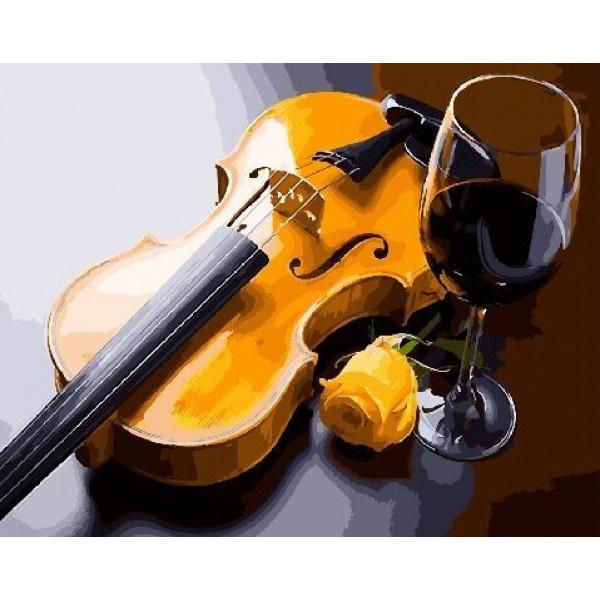 "Картина по номерам ""Бокал и скрипка"""