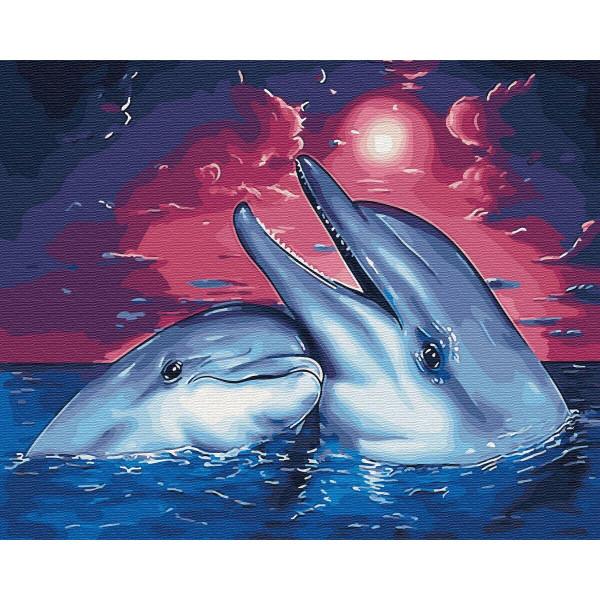 """Картина по номерам """"Дельфины в закате"""""""