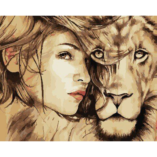 """Картина по номерам """"Девушка и лев"""""""