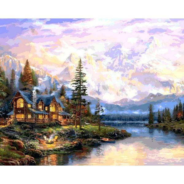 "Картина по номерам ""Дом у горного озера"""