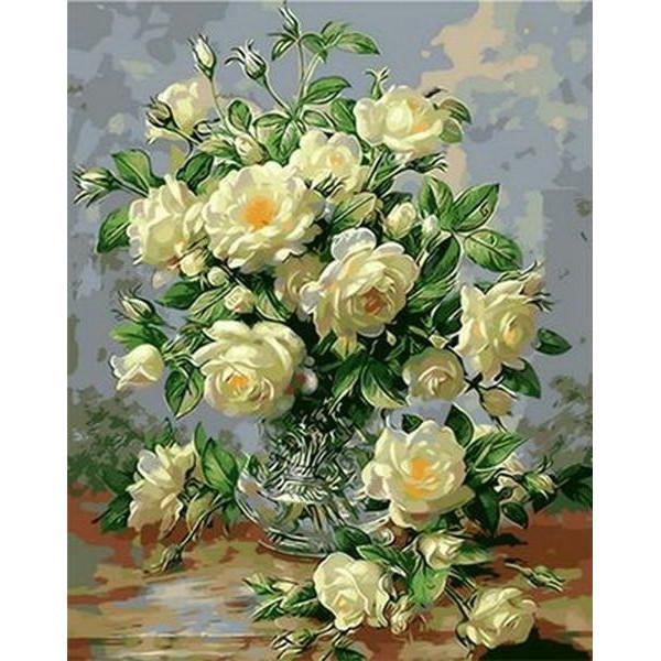 "Картина по номерам ""Букет белых роз"""