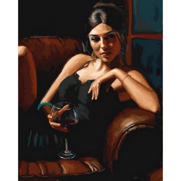 """Картина по номерам """"Девушка с бокалом каберне"""""""