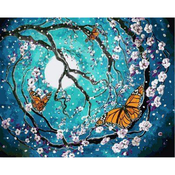 "Картина по номерам ""Бабочка в лунном свете"""