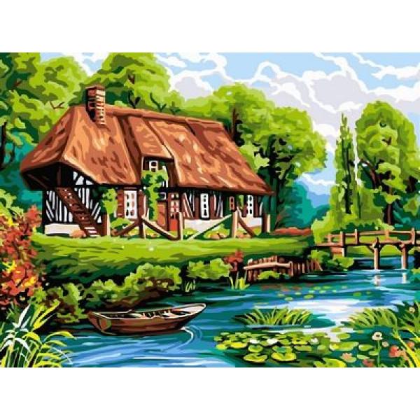 """Картина по номерам """"Домик у пруда"""""""