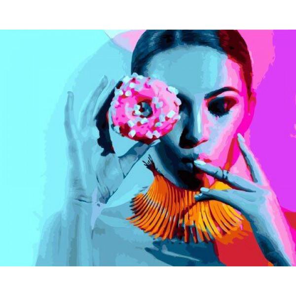 "Картина по номерам ""Дама и пончик"""