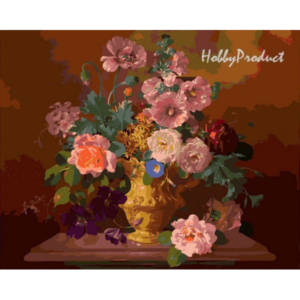 """Картина по номерам """"Букет цветов в вазе"""""""