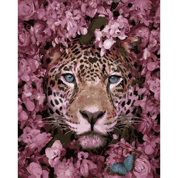 "Картина по номерам ""Гепард в цветах"""