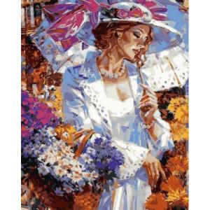 """Картина по номерам """"Дама с корзинкой ромашек"""""""