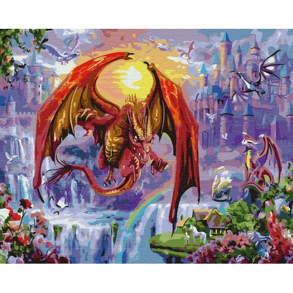 """Картина по номерам """"Драконы в городе"""""""