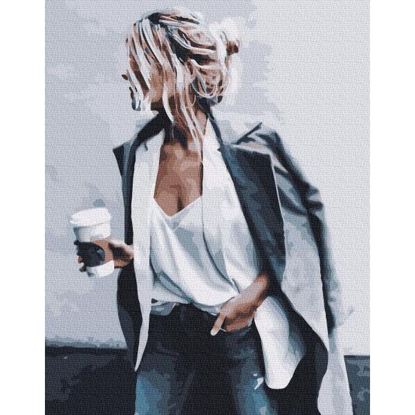 "Картина по номерам ""Девушка с кофе"""