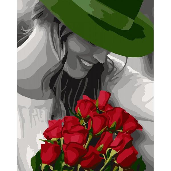 """Картина по номерам """"Девушка в зелёной шляпе"""""""