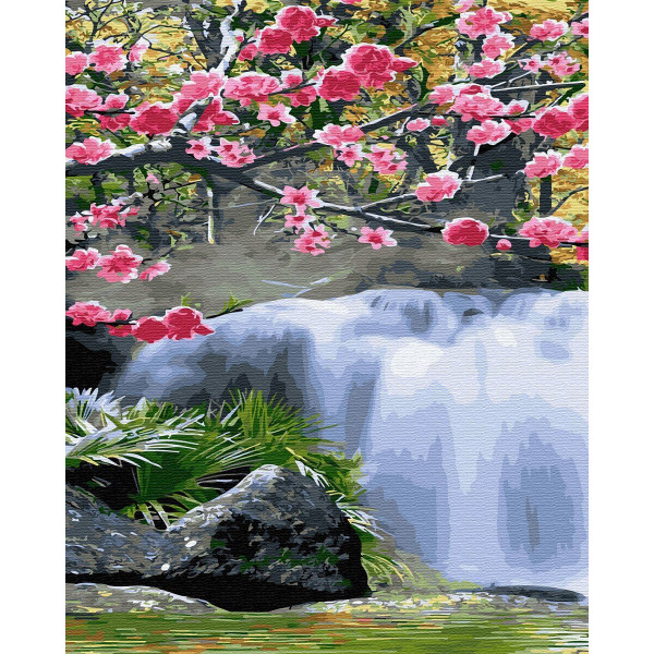 "Картина по номерам ""Водопад весной"""