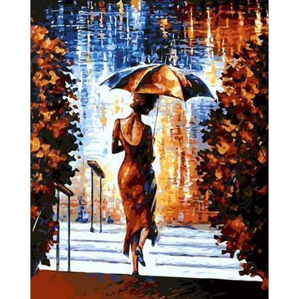 """Картина по номерам """"Девушка под зонтом"""""""