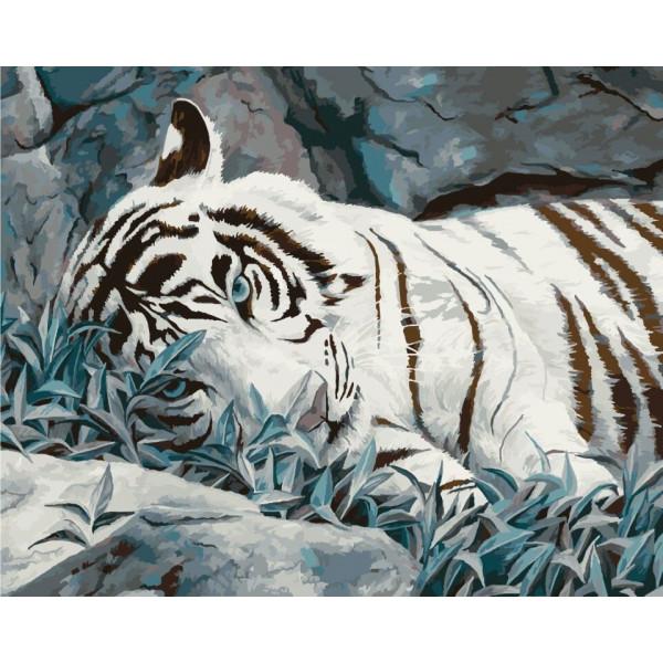"Картина по номерам ""Белый тигр"""