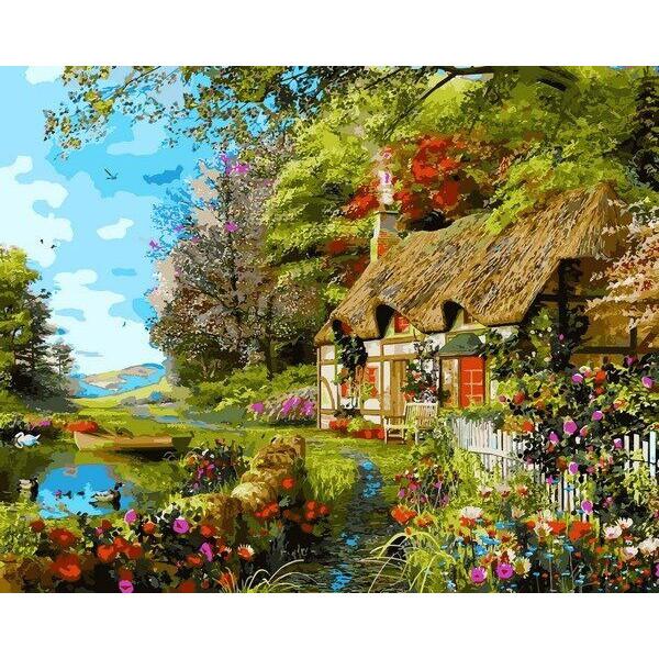 "Картина по номерам ""Домик на берегу озера"""