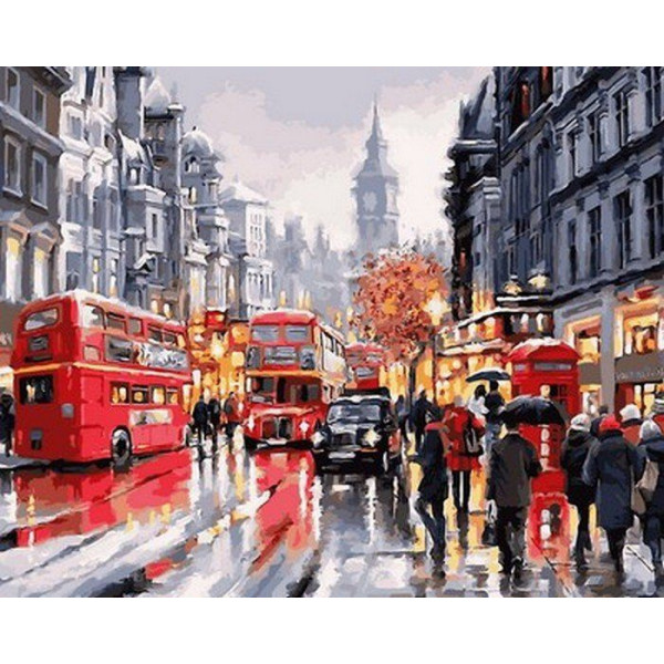 """Картина по номерам """"Автобусы ночного города"""""""
