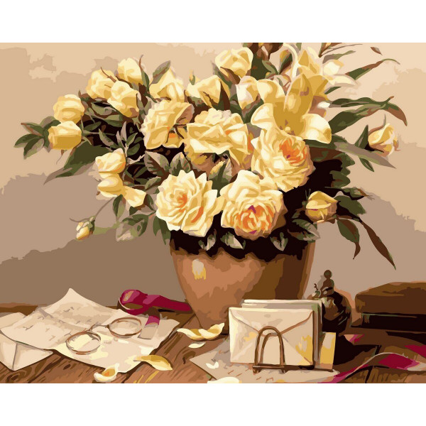 """Картина по номерам """"Желтые розы"""""""