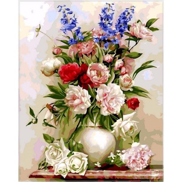 """Картина по номерам """"Букет в белой вазе"""""""