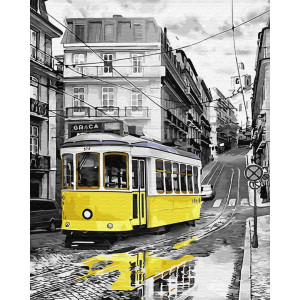 """Картина по номерам """"Жолтый трамвайчик"""""""