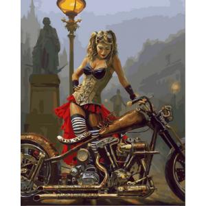 "Картина по номерам ""Мотоцикл и девушка в стиле стимпанк"""