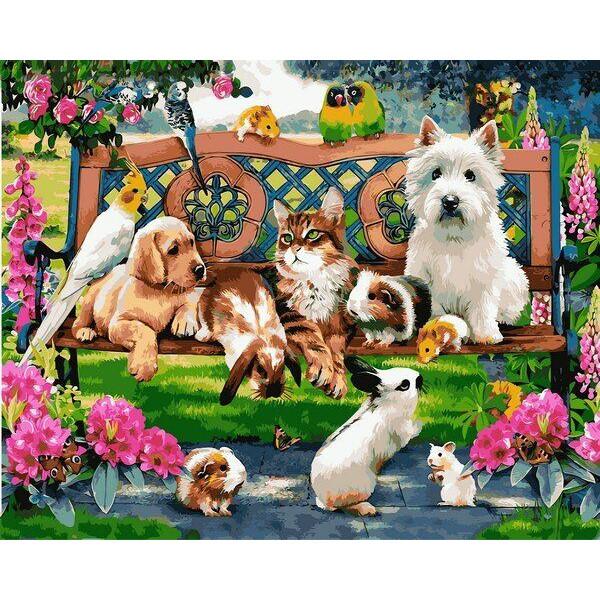 """Картина по номерам """"Домашние животные в парке"""""""
