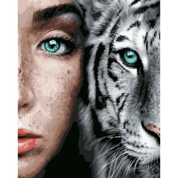 """Картина по номерам """"Девушка и тигр"""""""