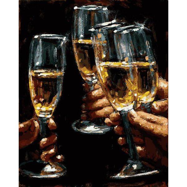 """Картина по номерам """"Бокалы белого вина"""""""