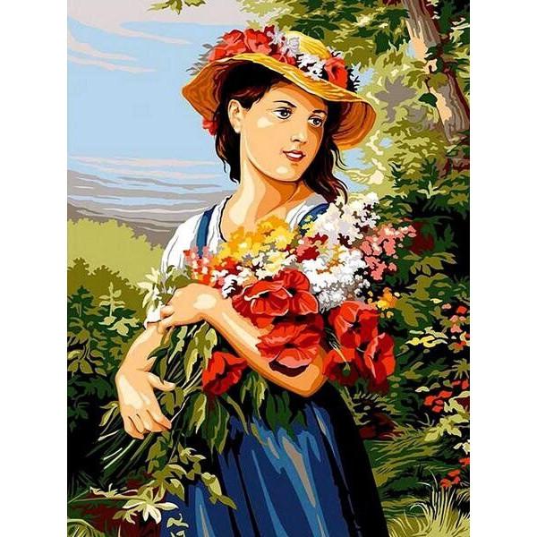 "Картина по номерам ""Девушка с цветами"""