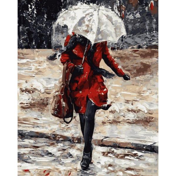 """Картина по номерам """"Девушка в красном пальто"""""""