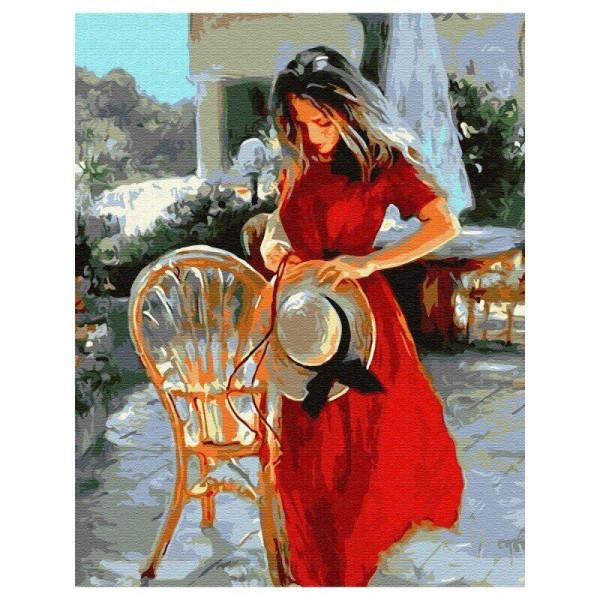"""Картина по номерам """"Девушка в красном"""""""