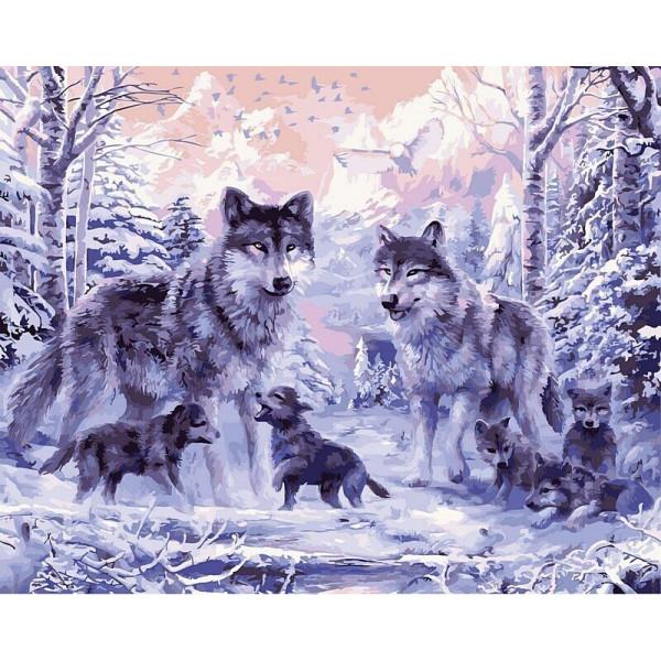 "Картина по номерам ""Волчье семейство"""
