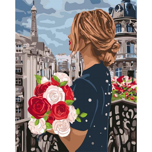 """Картина по номерам """"Девушка с розами"""""""