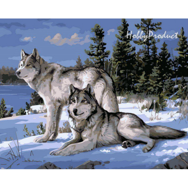 """Картина по номерам """"Волки на снегу"""""""