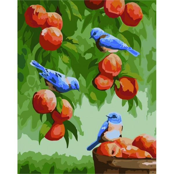 "Картина по номерам ""Дрозды и персики"""