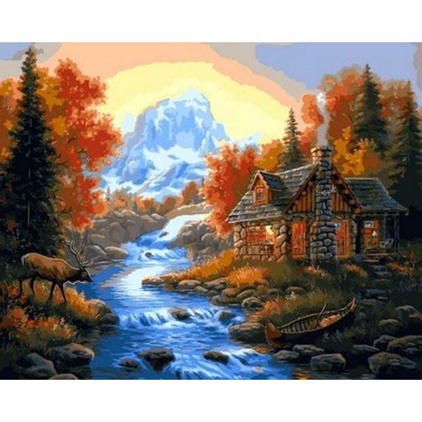 "Картина по номерам ""Домик у горной речки"""