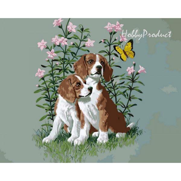"Картина по номерам ""Два щенка"""