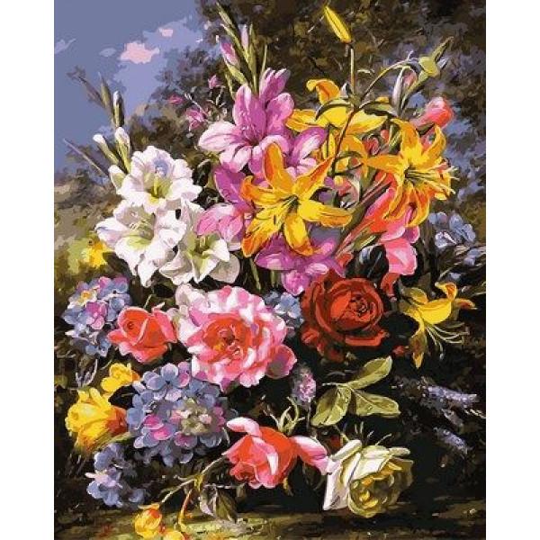 """Картина по номерам """"Букет роз и лилий"""""""