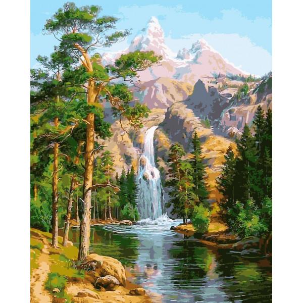 """Картина по номерам """"Водопад в сосновом лесу"""""""
