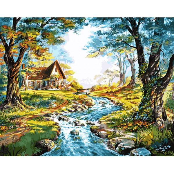 "Картина по номерам ""Домик на берегу горной речки"""