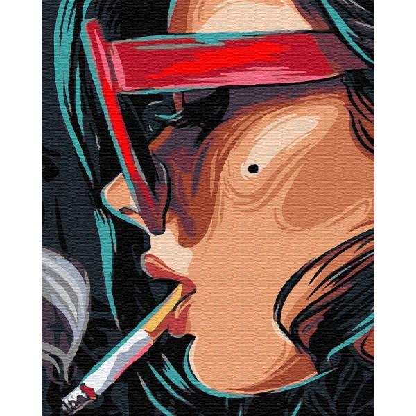 "Картина по номерам ""Девушка с сигаретой"""