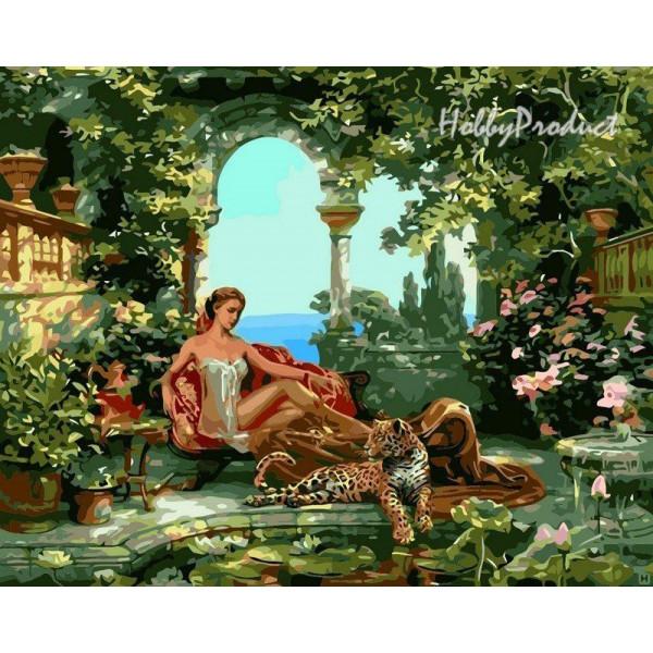 """Картина по номерам """"Девушка с леопардом"""""""
