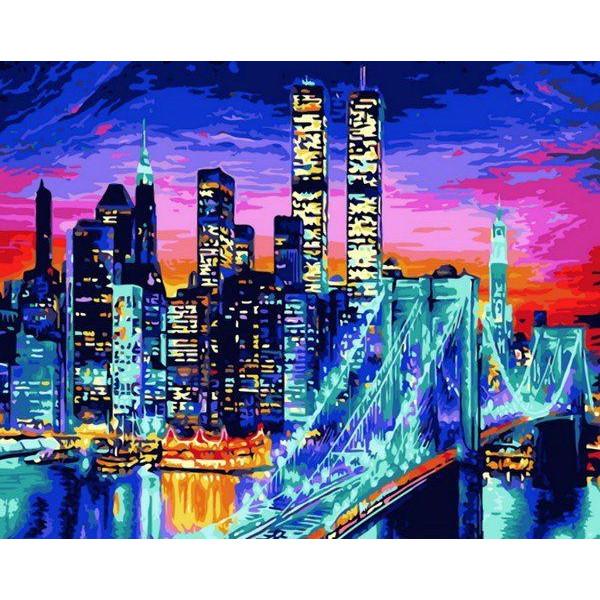 "Картина по номерам ""Бруклинский мост в огнях"""