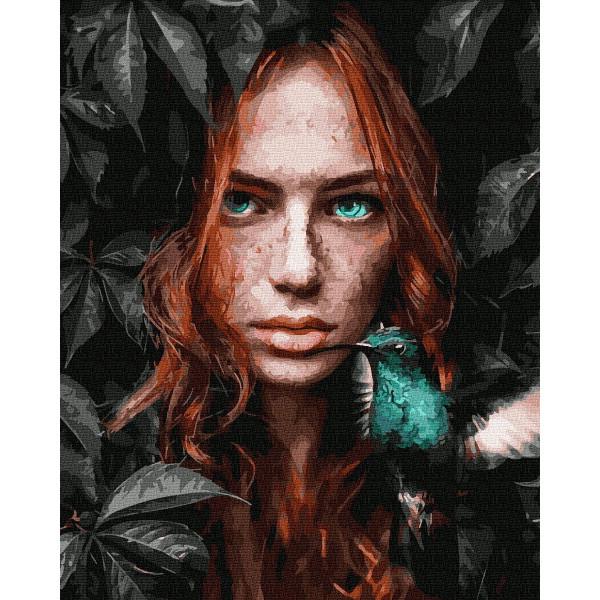 """Картина по номерам """"Девушка и колибри"""""""