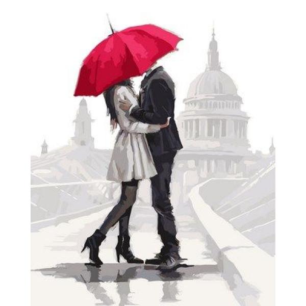 """Картина по номерам """"Влюбленные под зонтом"""""""