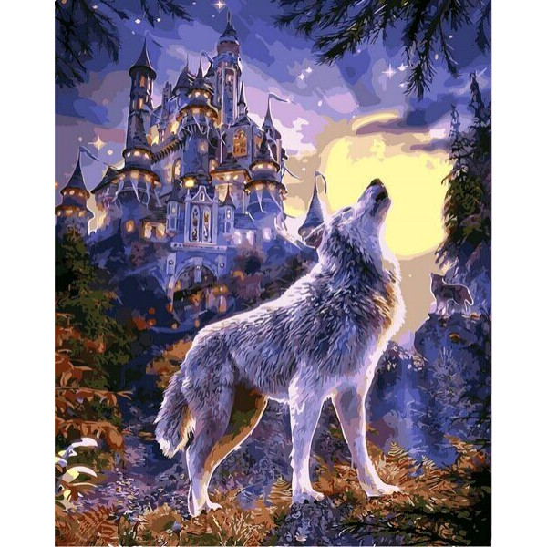 "Картина по номерам ""Волчья луна"""