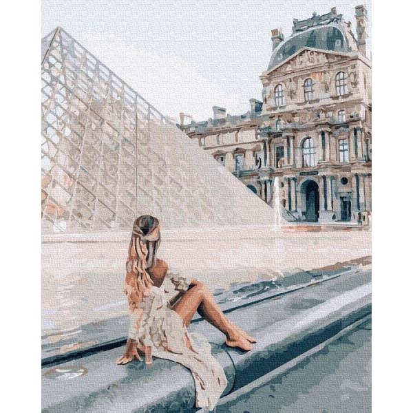 """Картина по номерам """"Девушка у Лувра"""""""